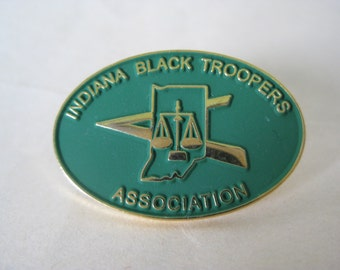 Indiana Black Troopers Association Pin Lapel Brooch Green Gold Vintage Tie Tack