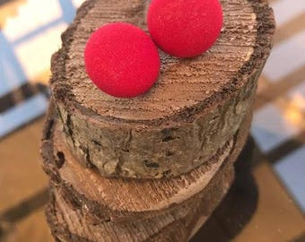 Fabric Button Earrings - Red