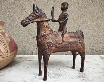 Vintage Tribal India Cast Bronze Bastar Dhokra Lost Wax Statue Warrior on Horse, Primitive Art