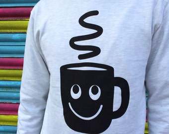 Coffee Jumper, Funny Sweater, Christmas Sweater, I Love Coffee Jumper, Tea Jumper, Coffee Print, Screenprinted Jumper, Cute Happy Sweatshirt