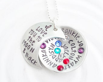 I Love You To The Moon & Back -  Birthstone Multi Name Necklace - Moon Necklace - Grandmother Necklace - Mother's Necklace - Gift For Her