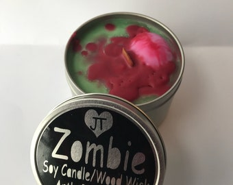 Zombie candle soy wax wood wick funny but greatsmelling