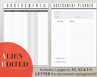Assessment Planner, Assessment Tracker, Assessment Manager, Assessments, Organizer, Student Planner, Studnet Organizer, A4, A5, US LETTER