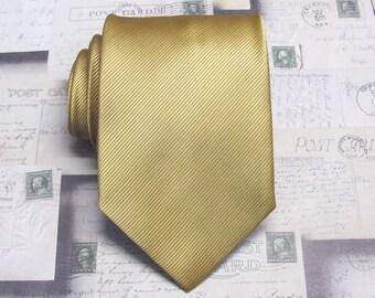 Mens Tie - Dusty Gold Tonal Striped Necktie