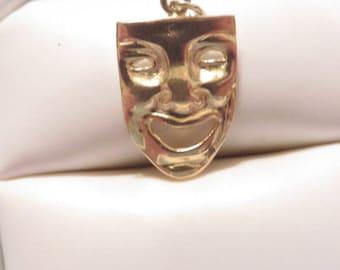 14K Happy Face Mask Charm / Pendant