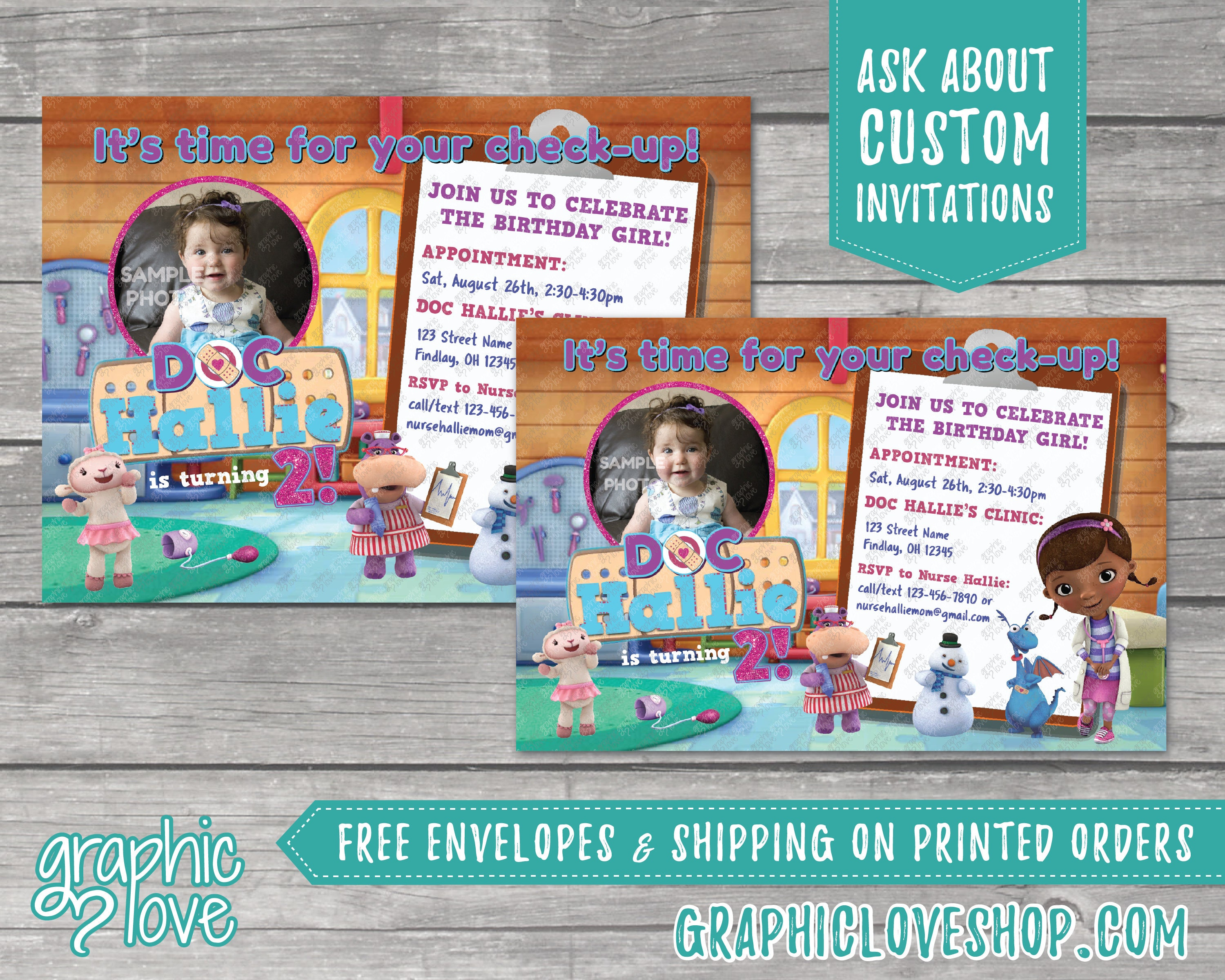 Personalized Doc McStuffins Birthday Invitation