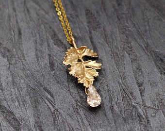 Gold Leaf Crystal Necklace, Drop Necklace, Wedding Jewellery, Bridal Necklace, Formal Necklace, Gold Accessories, Romantic Jewelry