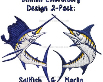 Sailfish and Marlin Embroidery Design 2-pack