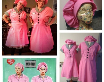Upcycled Steampunk Clothing I Love Lucy Chocolate Factory Costume, Lucille Ball, Lucy and Ethel Pink Dress and Hat, Adult Size S, M, L
