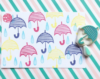 umbrella and rain drop rubber stamps | weather stamp | diy snail mail | birthday card making | hand carved by talktothesun | set of 2