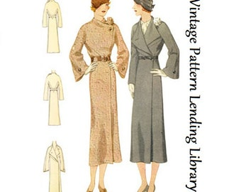 1932 Ladies Coat With Flower Accent - Reproduction Sewing Pattern #T7039