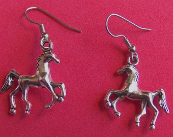 Horse  earrings, stainless steel ear wire,Tibetan  silver, finished on both sides.
