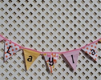 Giraffe Banner, First Birthday Banner Fabric Banner, Pink and Orange Dots Bunting Flag Banner, Giraffe Nursery Bunting,Custom Name Banner