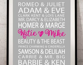 Famous Couples Print wall art custom names, wedding anniversary printable decor typography, subway art, digital Print