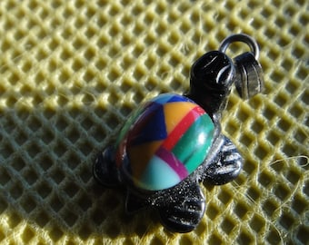 Onxy Inlaid Turtle Pendant Native American Inlaid Stones Turquoise Zuni Style Coral Malachite Spiny Oyster Southwestern Turtle pendant