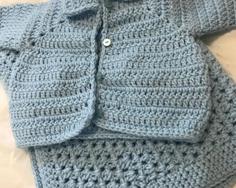 Baby blanket with matching baby sweater
