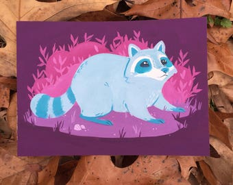 Night Time Friend an original gouache raccoon painting