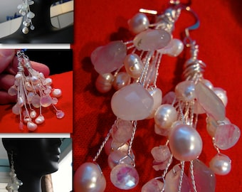 CRYSTAL. long cluster drop earrings. in white freshwater pearls with chalcedony. waterfall collection
