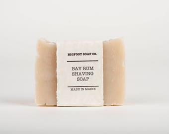Bay Rum Shaving Soap w/ Bentonite Clay - Natural Vegan Cold Process Soap