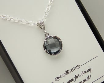 Gray Necklace, Silver Gray Bridesmaid Necklace, Charcoal Bridesmaid Jewelry, Grey, Cubic Zirconia, Wedding Jewelry, Sterling Silver, Wedding