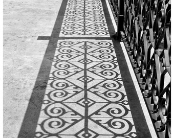 Shadow Photo 5x7 Signed Print Black and White Fence Wall Art