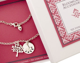 Name bracelet with tree of life and ENGRAVED 925 Silver