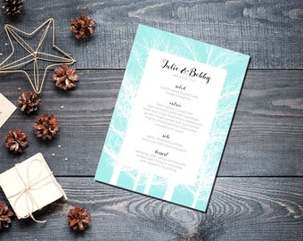 Winter Trees Menu Wedding Party Romantic Christmas Mint New Years Eve