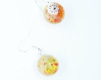 Orange and Yellow orb earrings