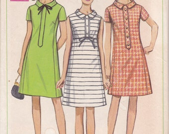 FREE US SHIP Sewing Pattern Simplicity 7476 Vintage Retro 1960s 60s Mod Dress Size 10 Bust 32 1/2  Factory Folded Tab Empire