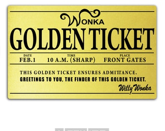 Willy Wonka Golden Ticket Printed Plastic, Oompa Loompa Costume Party, Chocolate Factory