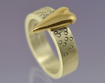 Large 9k Yellow Gold Heart atop a Silver Ring.Medium Version