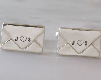 Sterling Silver Envelope Cuff links, Envelope Jewelry, Personalized Envelope Cufflinks, Anniversary Gift, Love Letter, Wedding Groom Gift