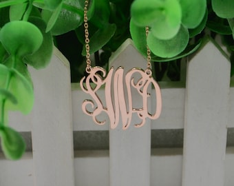 Rose gold monogram necklace-monogrammed gift-925 silver plated rose gold-Personalized Christmas gift for friend