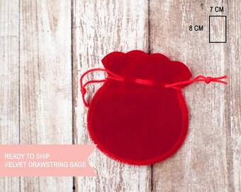 Red velvet round drawstring bag extra small  7cm x 8cm