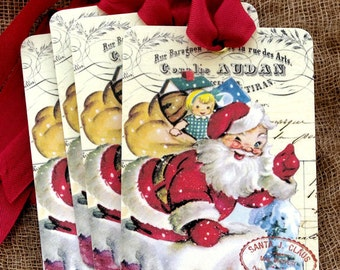 Retro Santa Claus Going Down The Chimney Christmas Gift or Scrapbook Tags or Magnet #296