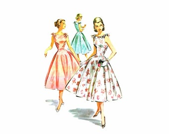 1950s McCalls 3659 Full Skirt Dress and Petticoat Vintage Sewing Pattern Size 12 Bust 30