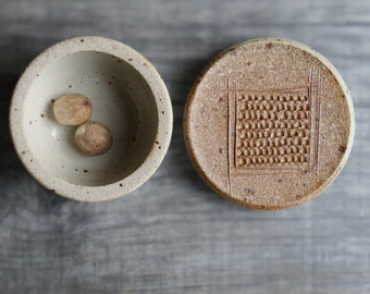 Ceramic nutmeg grater nutmeg rasp spice storage for nutmeg lid with grating surface nutmeg garlic ginger grinder multifunctional container