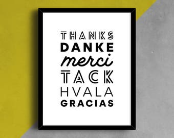 Thank You Language Print, Merci Poster, Thank You Sign, Language Wall Decor, Typography Print, Gracias, Type Art