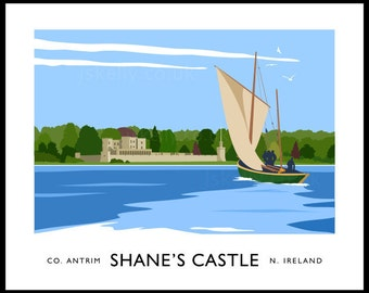 Shane's Castle - vintage style railway travel poster art of Ireland