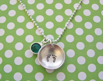 sterling silver baby feet necklace with birthstone