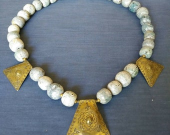Vintage Chunky Large Stone Fossil Bead & Brass Tribal Necklace