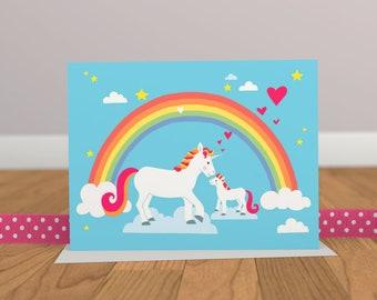 Licorne carte - carte - carte mignonne - arc en ciel carte de naissance - carte d'anniversaire d'enfants