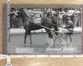 Vintage Old Post Card Freehold Raceway Dominkin 1957 No Post Mark Unused