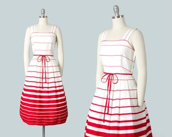 Vintage 1950s Style Dress   1970s Striped Cotton Sundress Red White Ombré Full Skirt Day Dress with Pockets (small)