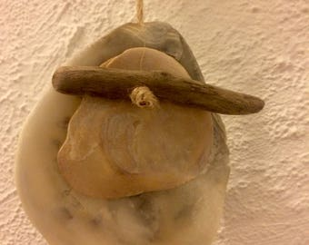 Driftwood and shell decorative hanging