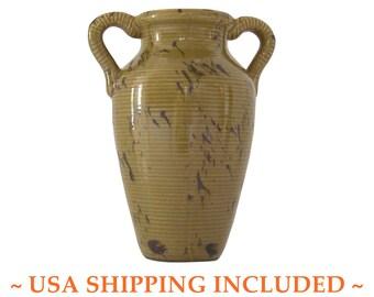Vintage Art Pottery Vase Amphora Shaped Interesting Glaze