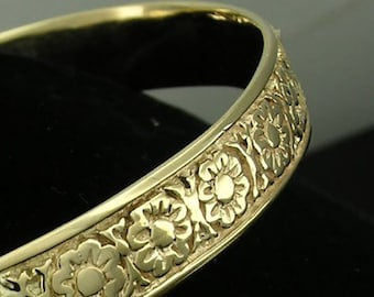 Genuine 9K, 14K or 18K Solid Yellow,Rose or White Gold 8.5mm WIDE Blossom Flower Bangle diameter 63mmalso available in 65mm or 67mm