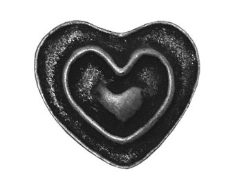 3 Rustic Heart 11/16 inch ( 18 mm ) Dill Metal Buttons Antique Tin Color