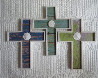 Wooden Cross Wood Cross Christian Wall Decor Nursery Decor Beach Decor Chippy Paint Beadboard Shells