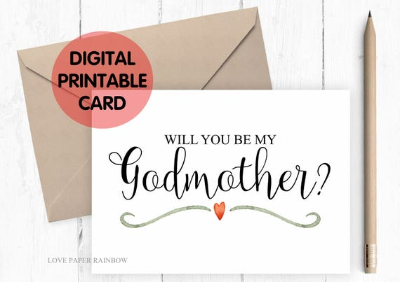 PRINTABLE will you be my godmother card, godmother card, printable godmother card, will you be my godmother card printable